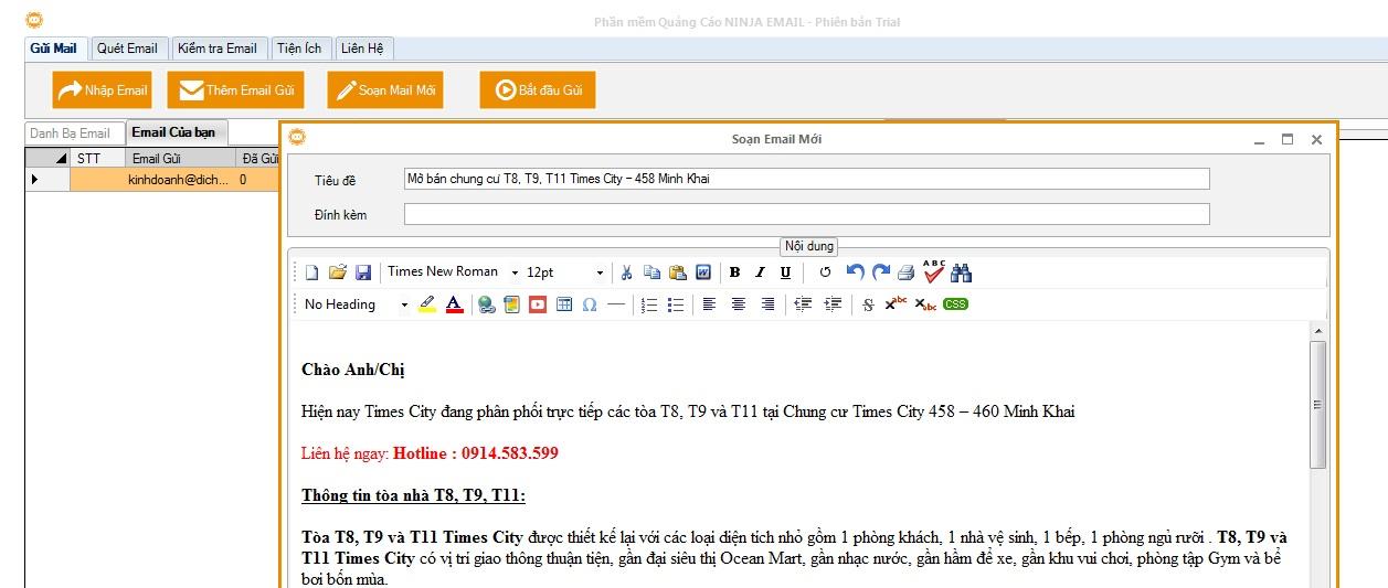 email phan mem gui email 1 1024x434 Hướng dẫn sử dụng phần mềm Email Ninja   Gửi email miễn phí