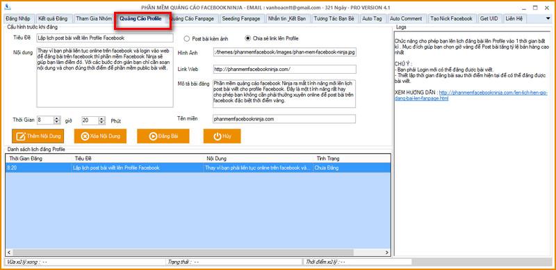len lich post bai tren profile facebook Phần mềm quét UID facebook, chuyển UID facebook sang email, quét Email facebook