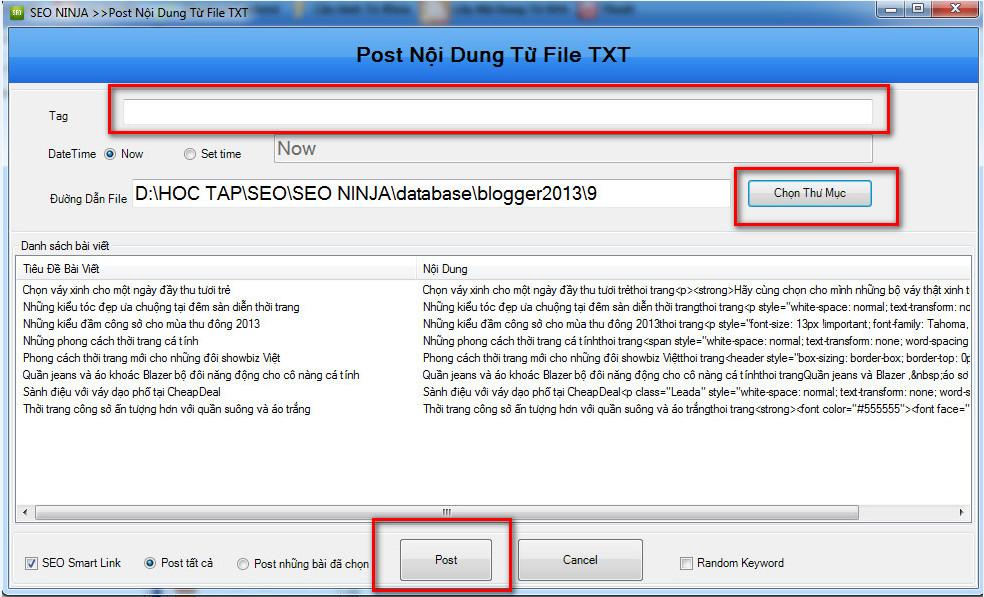 phan mem seo blogspot 9 Phần mềm đăng bài lên Blogspot – Blogger với SEO NINJA