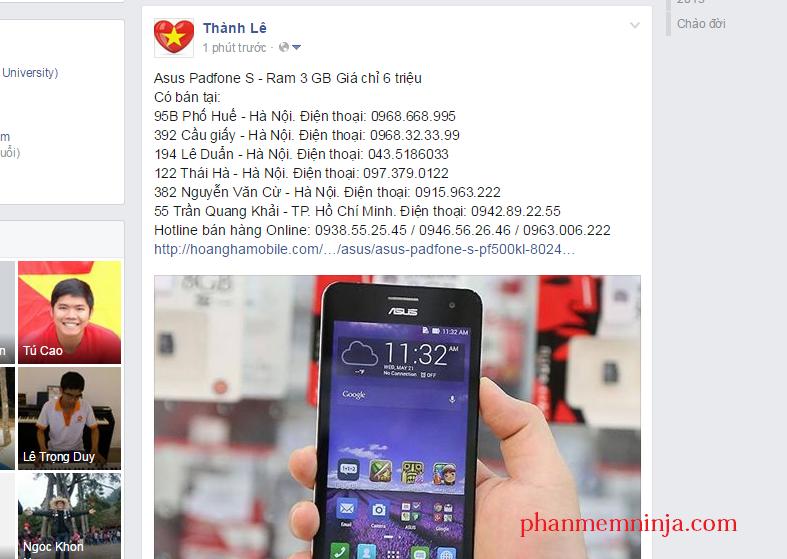 facebook dang len tuong ca nhan Facebook Ninja   Phần mềm quảng bá tốt nhất hiện nay