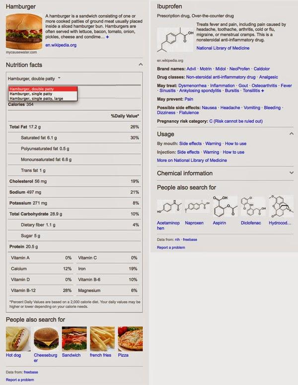 bing food drug snapshot BING cập nhật kiến thức đồ ẩm thực và hóa học trong SERPs   Facebook Ninja