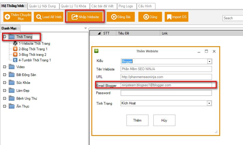 huong dan dang bai blogger bang seo ninja 1 Phần mềm seo, phần mềm đăng bài lên bloger, đăng bài lên wordpress