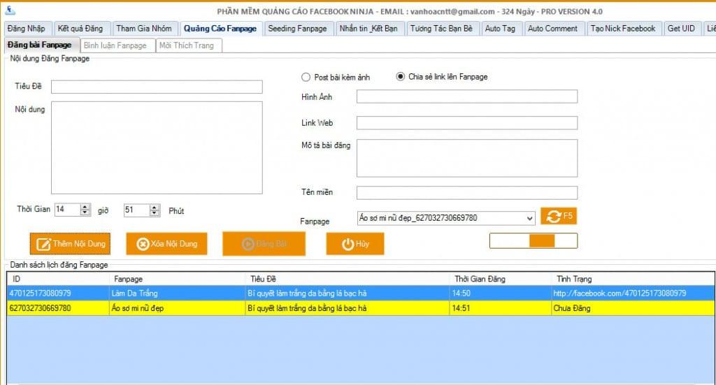 len lich dang bai fanpage 1024x551 1 1024x551 Lên lịch Hẹn giờ đăng bài lên Fanpage  Facebook Ninja