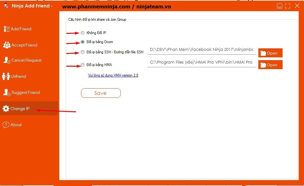 doi ip 1 Hướng dẫn sử dụng phần mềm Ninja Add Friend