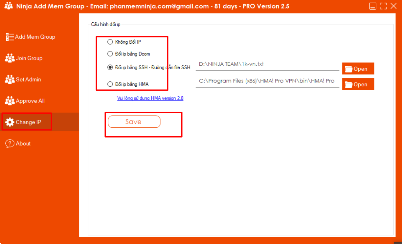 doi ip Hướng dẫn sử dụng phần mềm Add Mem Group Ninja