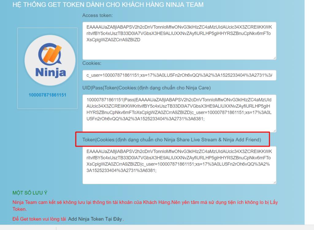 lay token 1024x752 Hướng dẫn sử dụng phần mềm Add Mem Group Ninja