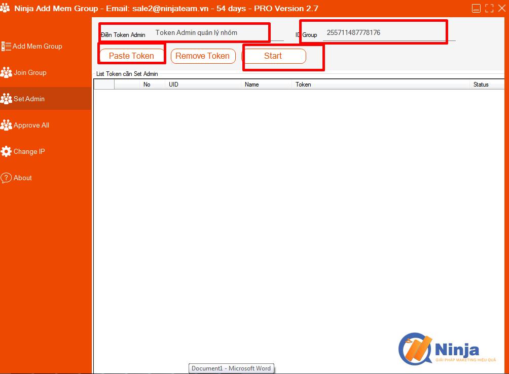 huong dan tinh nang set admin trong phan mem ninja add mem group 1 Hướng dẫn tính năng Set Admin trong Phần mềm Ninja Add Mem Group