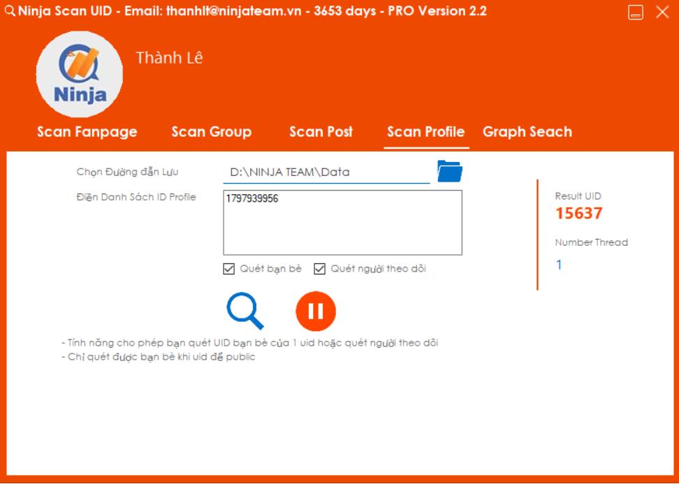 quet uid Ninja Grap Search   Phần mềm quét UID thông tin người dùng Facebook