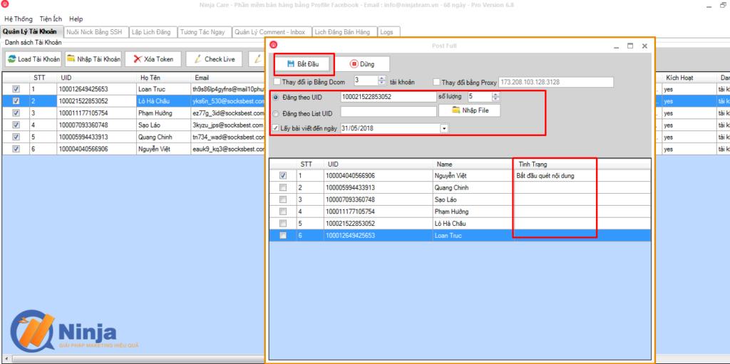 tu dang bai len profile bang ninja care 2 1024x511 Tự động đăng bài lên profile bằng phần mềm Ninja care