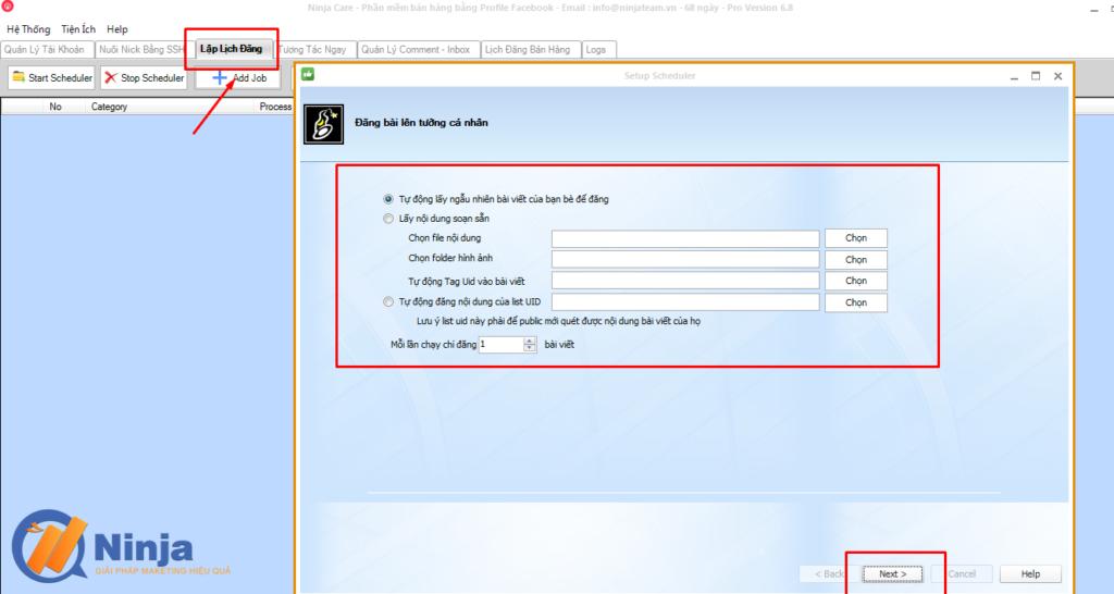 tu dong lap lich dang bai dang ninja care 1 1024x546 Tự động lập lịch đăng bài Facebook bằng phần mềm Ninja Care