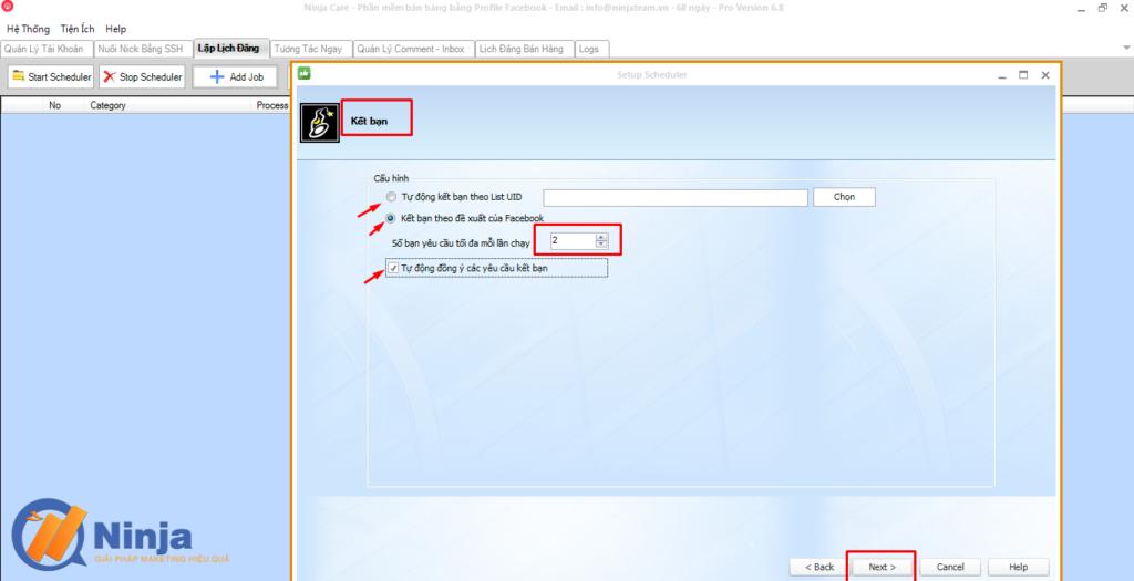tu dong lap lich dang bai dang ninja care 2 1024x525 Tự động lập lịch đăng bài Facebook bằng phần mềm Ninja Care