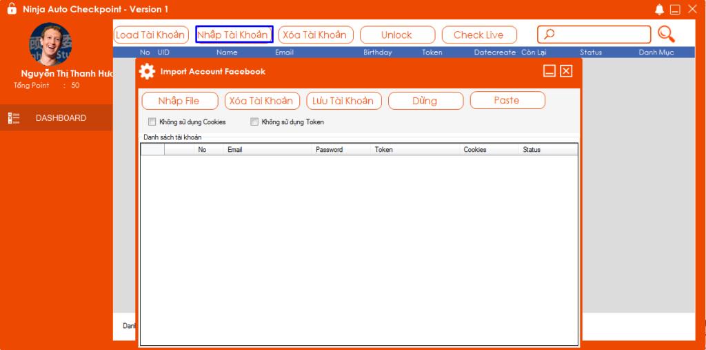 Phần mềm mở khóa checkpoint facebook