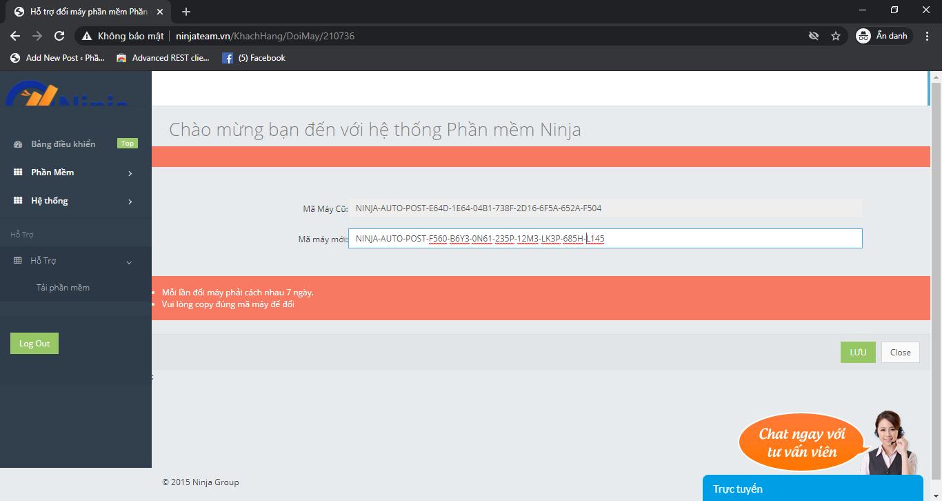 screenshot 1597316337 Hướng dẫn chuyển phần mềm Ninja sang máy tính mới, đổi mã máy