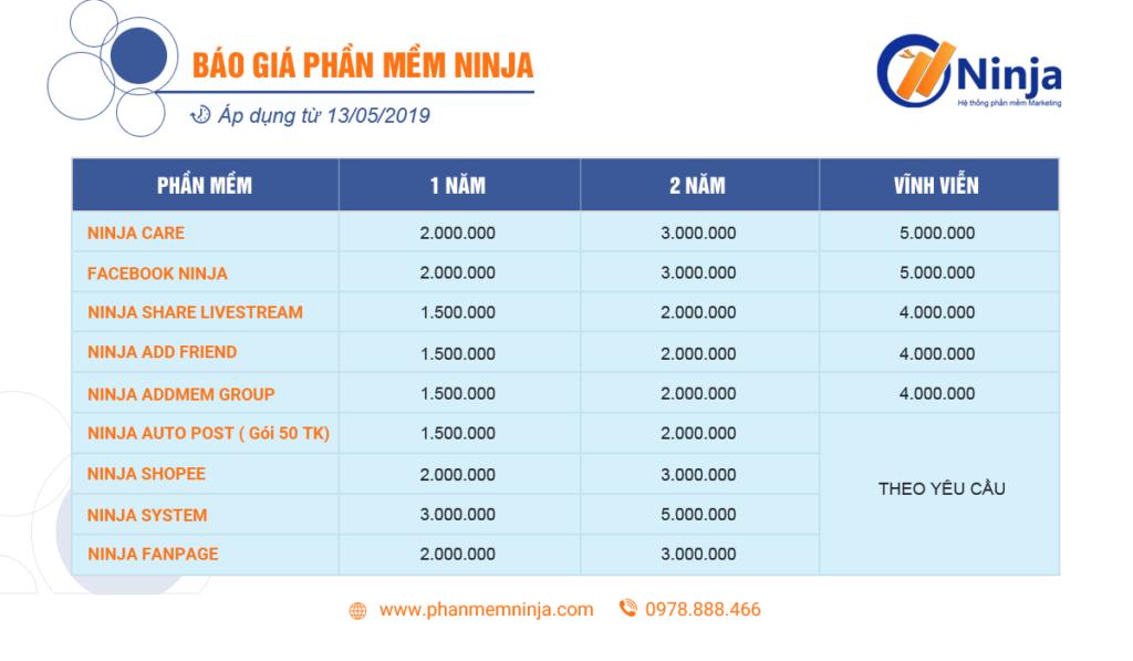 bao gia phan mem Ninja 1024x597 Phần mềm Ninja: Hướng dẫn quét Live trên UID Pro