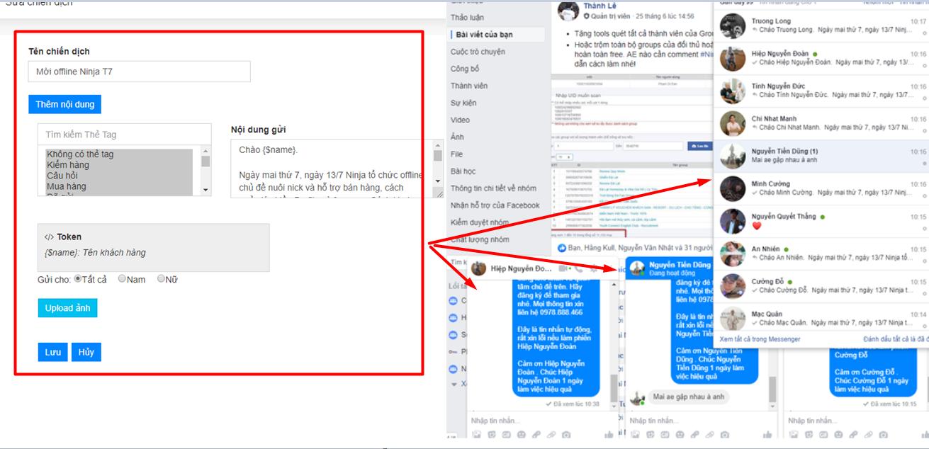 gui inbox khach hang cu2 Ninja Fanpage   Phần mềm quản lý comment inbox facebook số lượng lớn