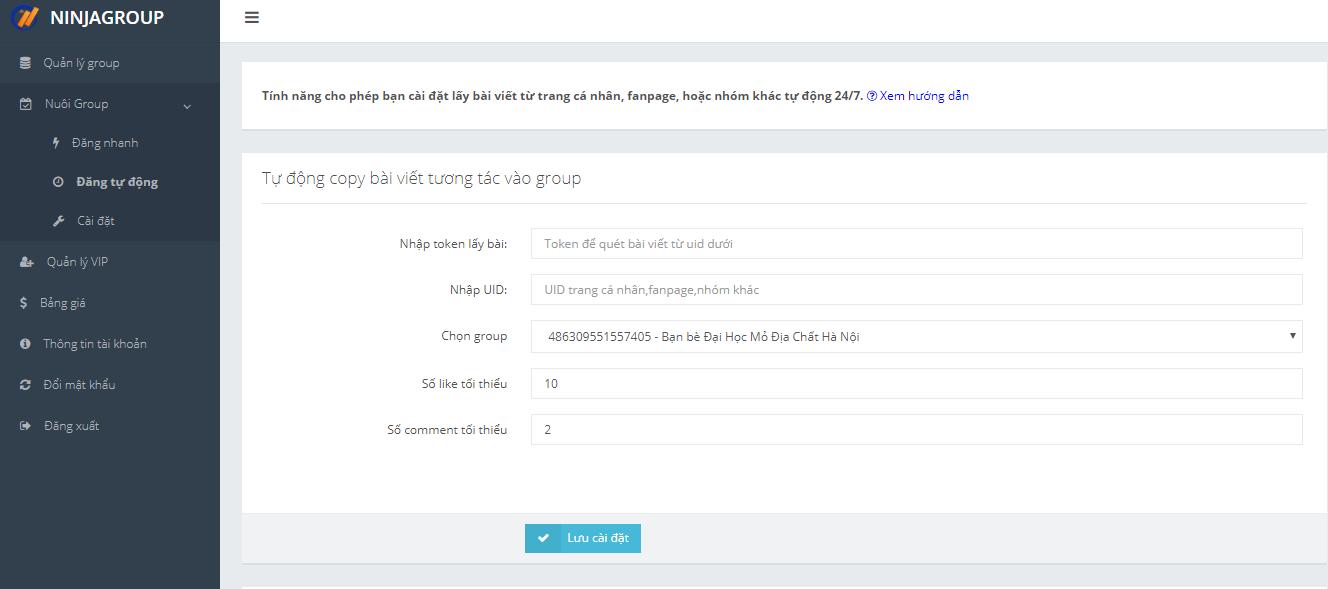 nuoinick Ninja Group   Phần mềm quản lý chăm sóc group facebook số lượng lớn