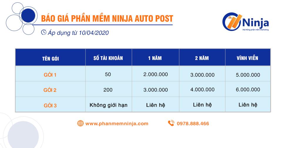 20200411 bảng báo giá0 Phần mềm Ninja Auto Post   Phần mềm đăng tin quảng cáo, bán hàng Facebook
