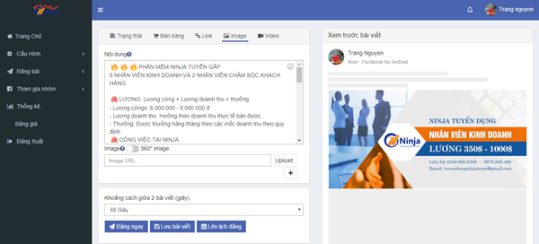 auto post 1 Ninja Auto Post – Phần mềm đăng tin, up bài bán hàng Facebook