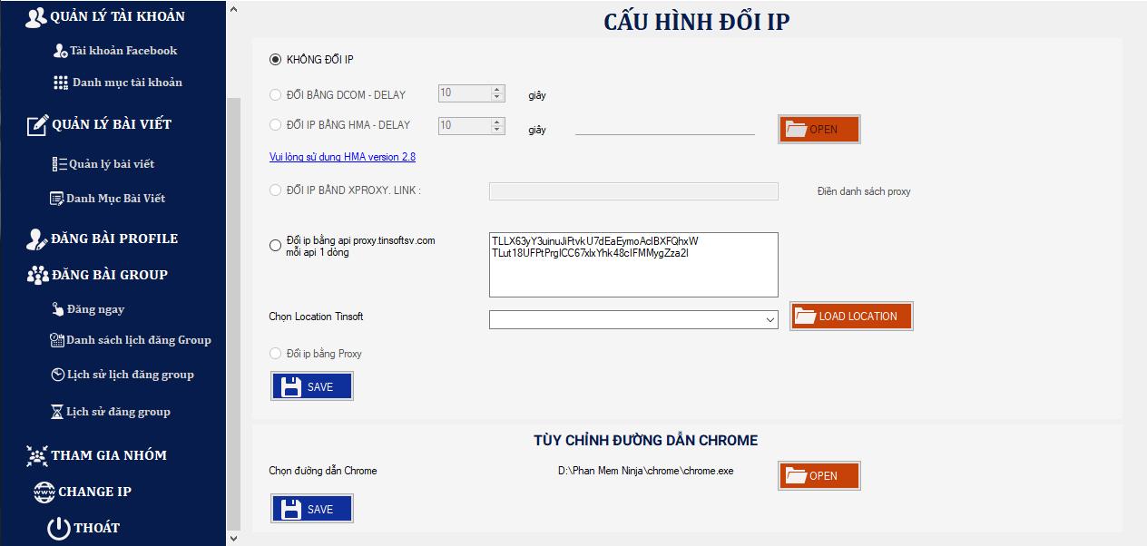 thay doi ip Ninja Auto Post client   Siêu phẩm đăng bài quảng cáo facebook hàng loạt