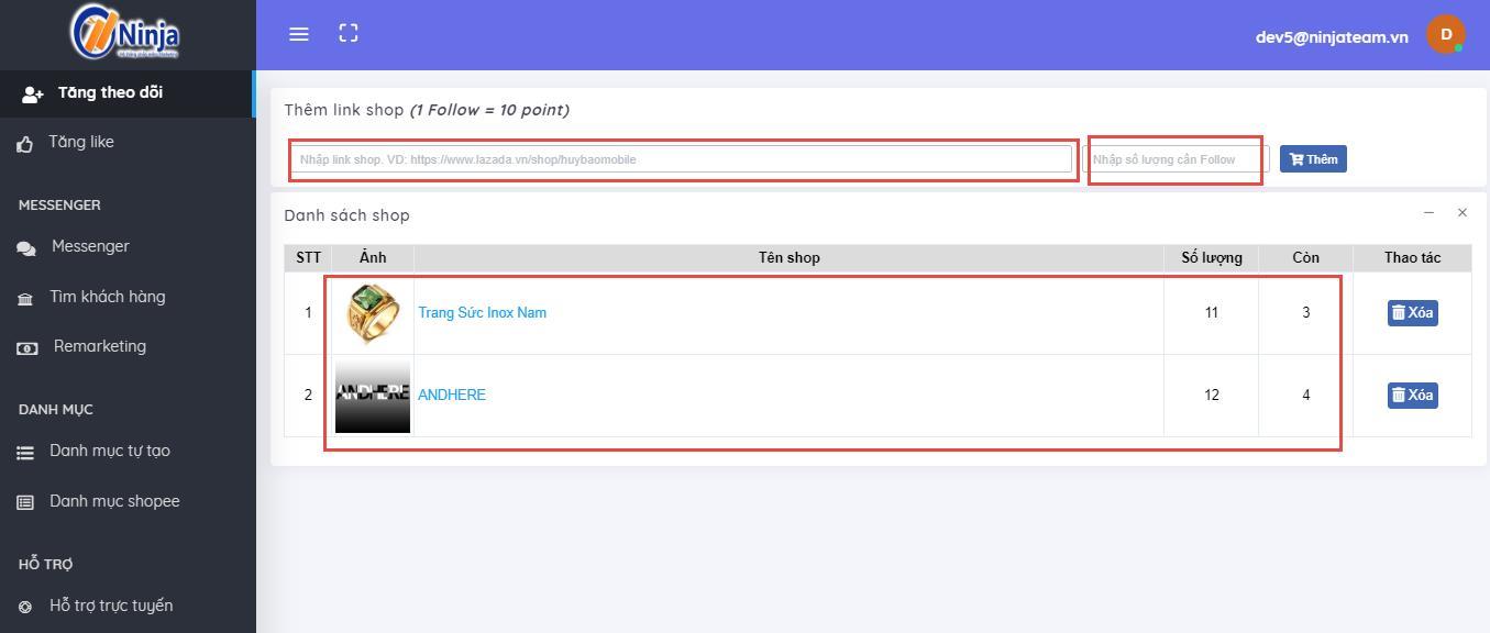 Huong dan su dung tinh nang Seeding Shopee3 Hướng dẫn sử dụng tính năng seeding trên phần mềm Ninja Shopee