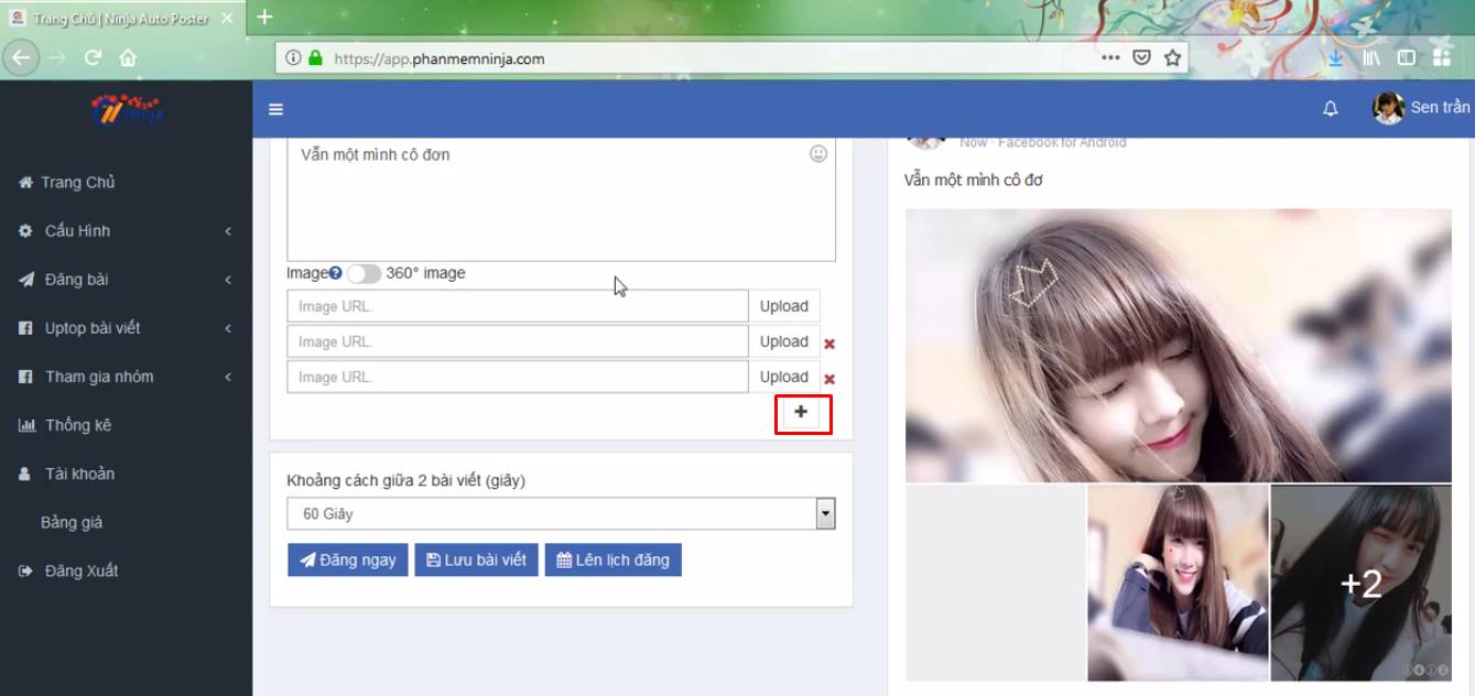 dang bai kem anh bang ninja auto post3 Cách đăng bài kèm ảnh bằng phần mềm Auto Post Facebook