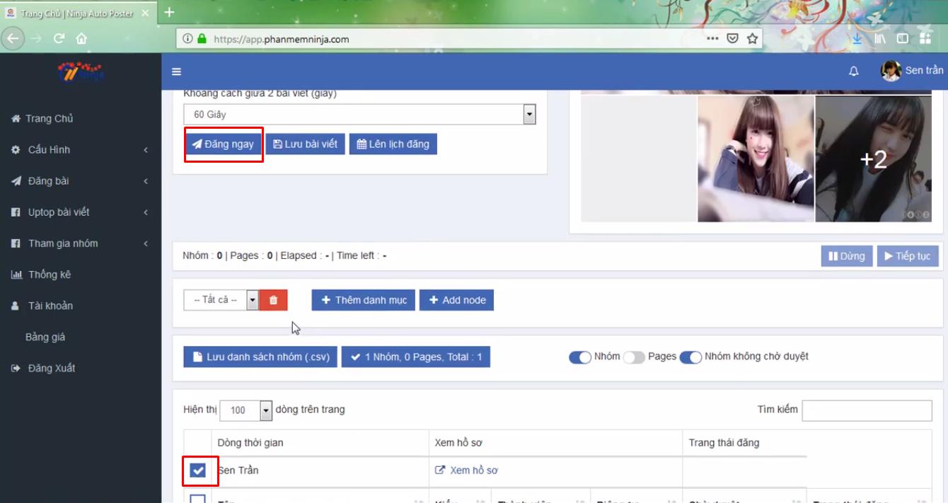 dang bai kem anh bang ninja auto post4 Cách đăng bài kèm ảnh bằng phần mềm Auto Post Facebook