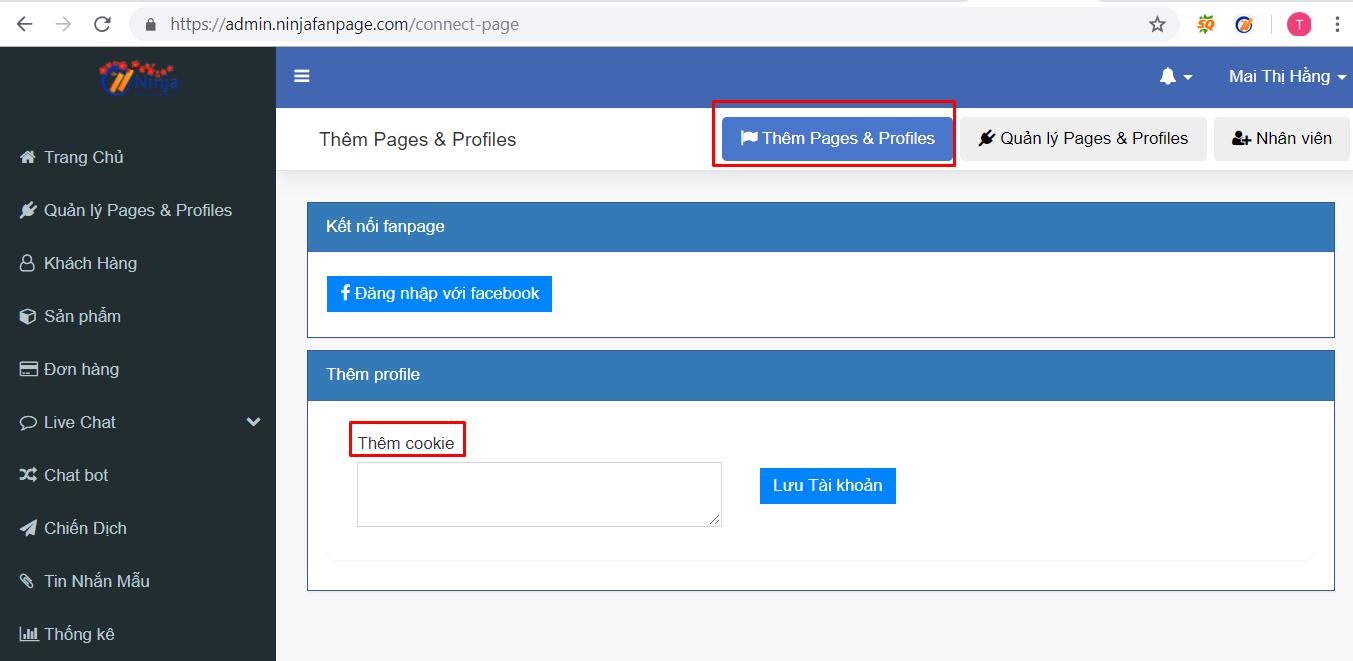 hd nhap tai khoan ninja fanpage1 Cách nhập tài khoản vào phần mềm gửi tin nhắn fanpage Ninja Fanpage