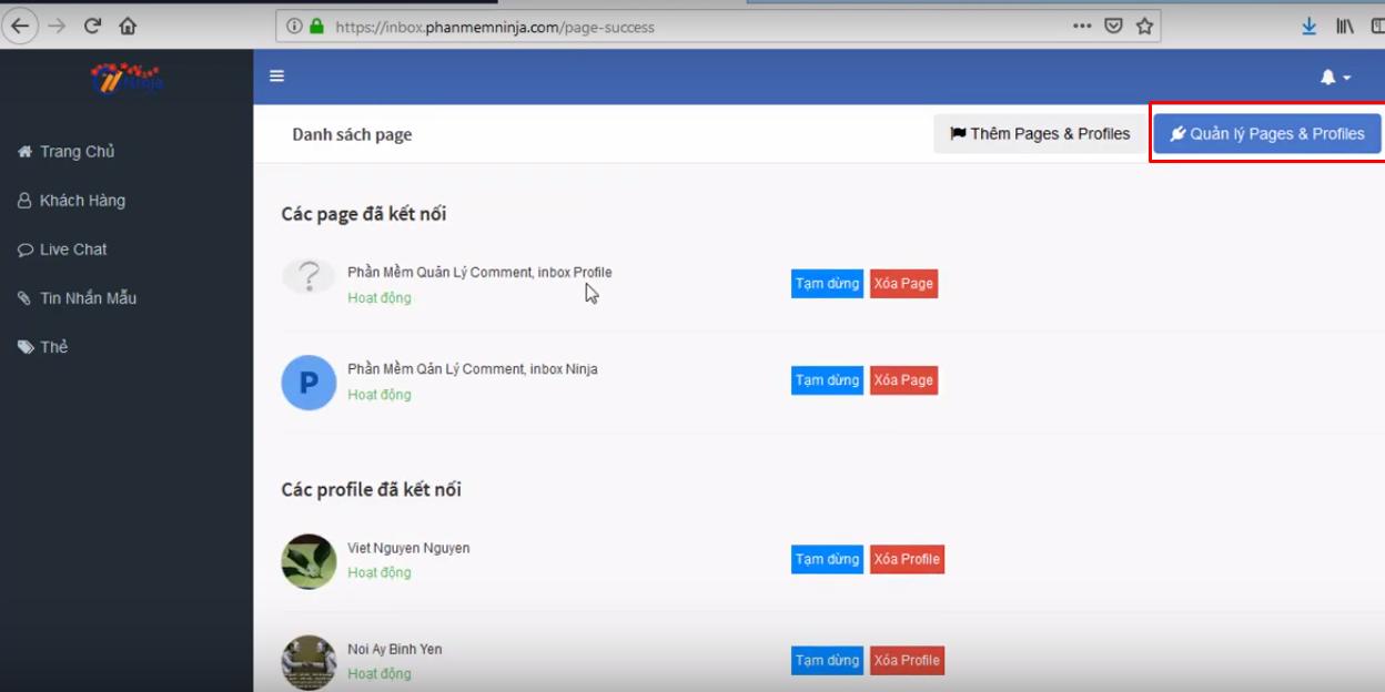 hd nhap tai khoan ninja fanpage6 Cách nhập tài khoản vào phần mềm gửi tin nhắn fanpage Ninja Fanpage