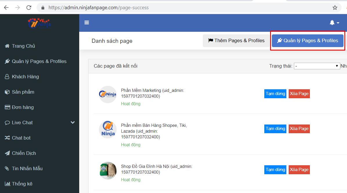 hd nhap tai khoan ninja fanpage7 Cách nhập tài khoản vào phần mềm gửi tin nhắn fanpage Ninja Fanpage