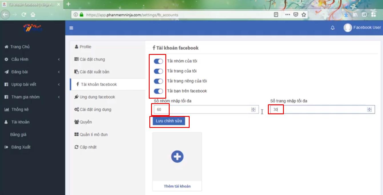 huong dan nhap tai khoan vao auto post2 Hướng dẫn nhập tài khoản đăng tin Facebook vào Ninja Auto Post