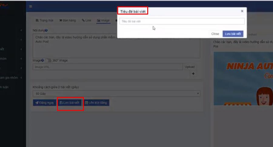 lap lich dang bang ninja auto post1 Hướng dẫn lập lịch đăng auto post Facebook trên phần mềm Ninja Auto Post