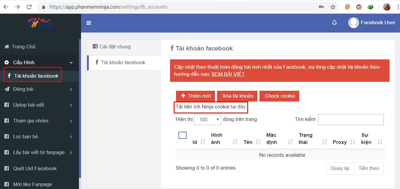 nhap tai khoan vao phan mem 1 Hướng dẫn nhập tài khoản đăng tin Facebook vào Ninja Auto Post