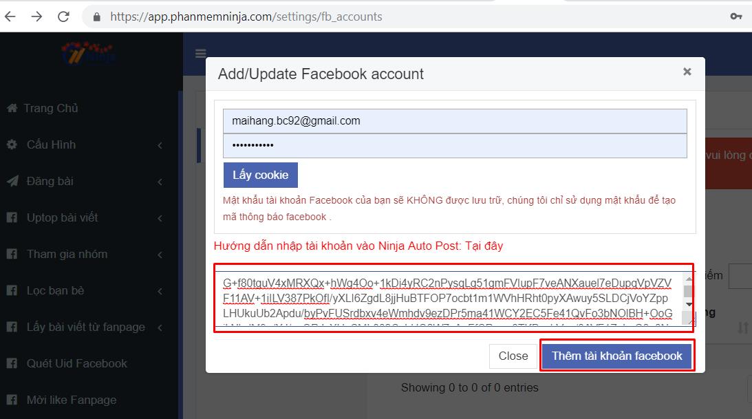 nhap tai khoan vao phan mem1 2 Hướng dẫn nhập tài khoản đăng tin Facebook vào Ninja Auto Post