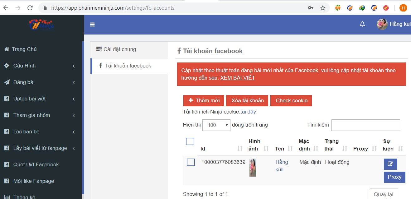 them tai khoan auto post3 Hướng dẫn nhập tài khoản đăng tin Facebook vào Ninja Auto Post