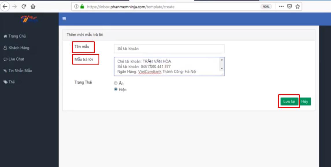 tin nhan mau ninja fanpage1 Cách tạo tin nhắn mẫu và quản lý nhóm khách hàng bằng Ninja Fanpage