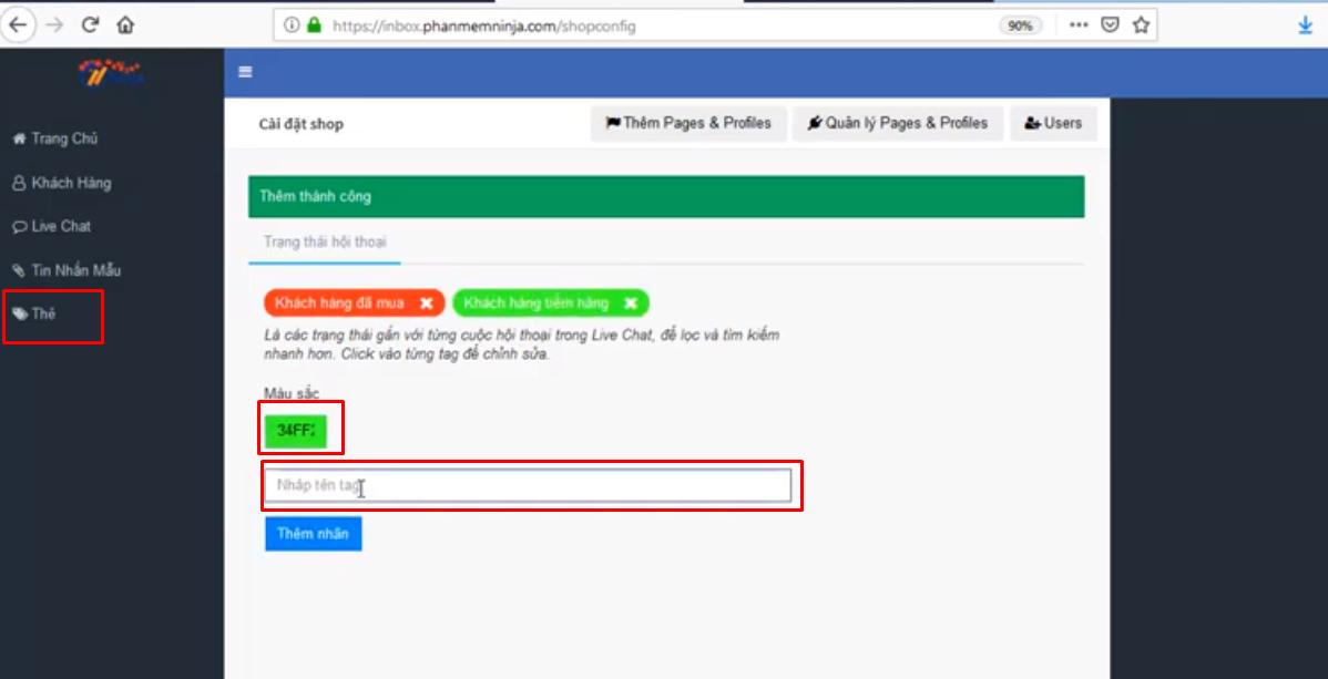 tin nhan mau ninja fanpage3 Cách tạo tin nhắn mẫu và quản lý nhóm khách hàng bằng Ninja Fanpage