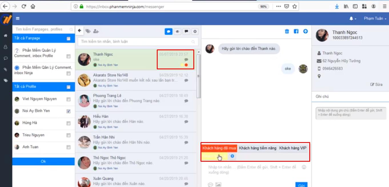 tin nhan mau ninja fanpage4 Cách tạo tin nhắn mẫu và quản lý nhóm khách hàng bằng Ninja Fanpage
