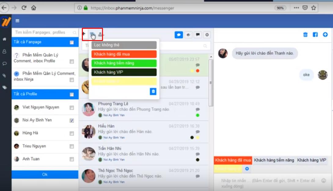 tin nhan mau ninja fanpage5 Cách tạo tin nhắn mẫu và quản lý nhóm khách hàng bằng Ninja Fanpage
