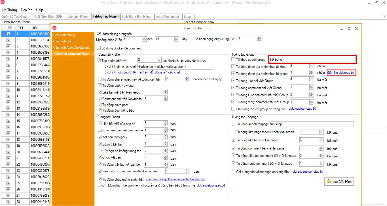 up date ninja care 12.9 Cập nhật V12.9 phần mềm nuôi nhiều nick Facebook Ninja Care