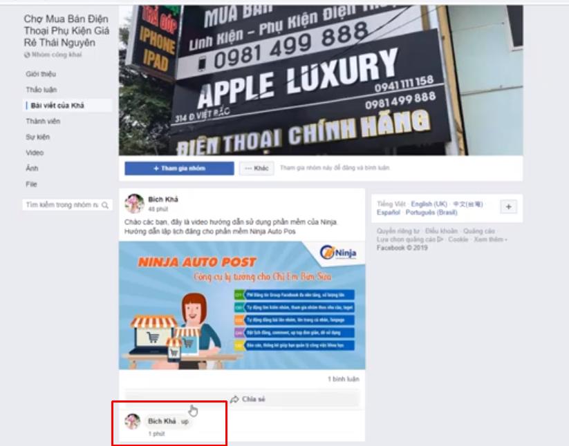 up top bai viet ninja auto post6 Cách uptop bài viết bằng tool đăng bài Facebook tự động Ninja Auto Post