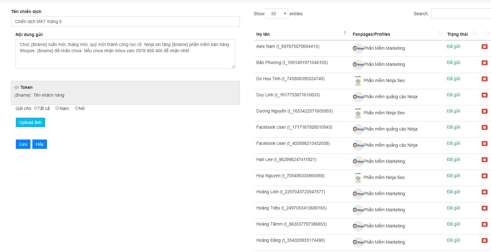 chien dich ninja fanpage 1 Cách tạo chiến dịch remarketing bằng phần mềm gửi tin nhắn facebook Ninja Fanpage