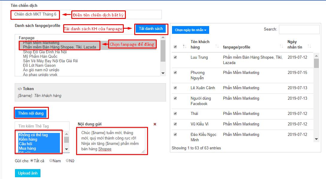 chien dich remarketing ninja fanpage1 Cách tạo chiến dịch remarketing bằng phần mềm gửi tin nhắn facebook Ninja Fanpage