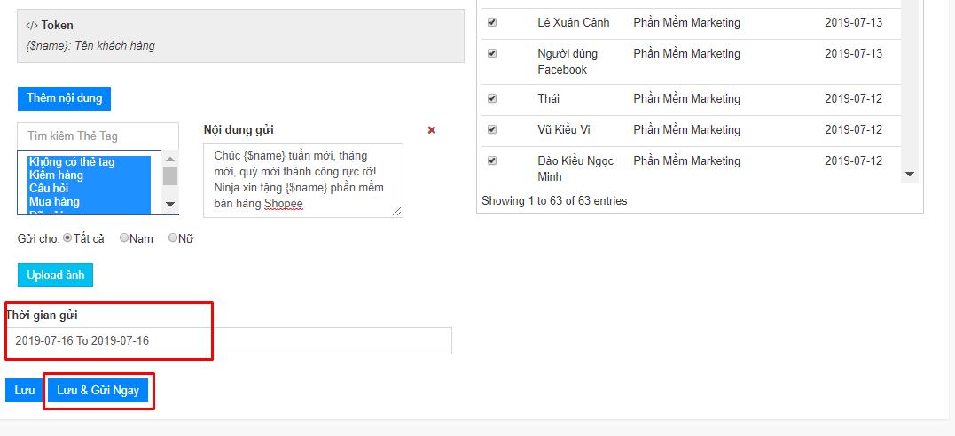 chien dich remarketing ninja fanpage2 Cách tạo chiến dịch remarketing bằng phần mềm gửi tin nhắn facebook Ninja Fanpage