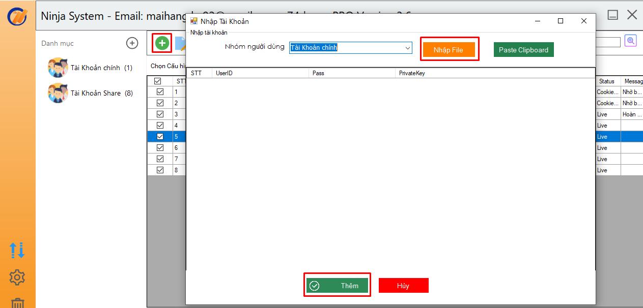 nhap tai khoan ninja system 1 Đăng bài lên trang cá nhân bằng phần mềm nuôi nick Facebook Ninja System
