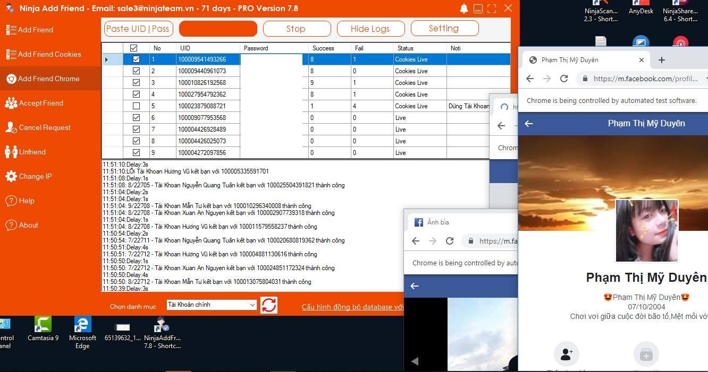 ninja add friend v78c Phần mềm auto kết bạn Ninja Add Friend cập nhật tính năng kết bạn theo chrome V7.8