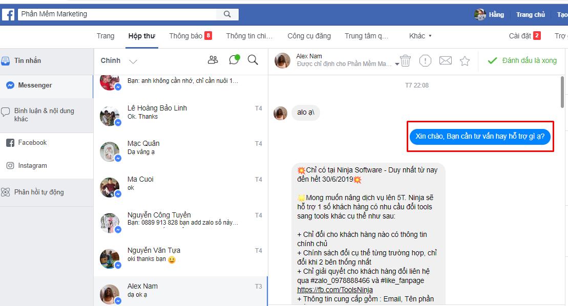 tao chat bot bang ninja fanpage1 Cách tạo chatbot bằng phần mềm quản lý inbox Ninja Fanpage