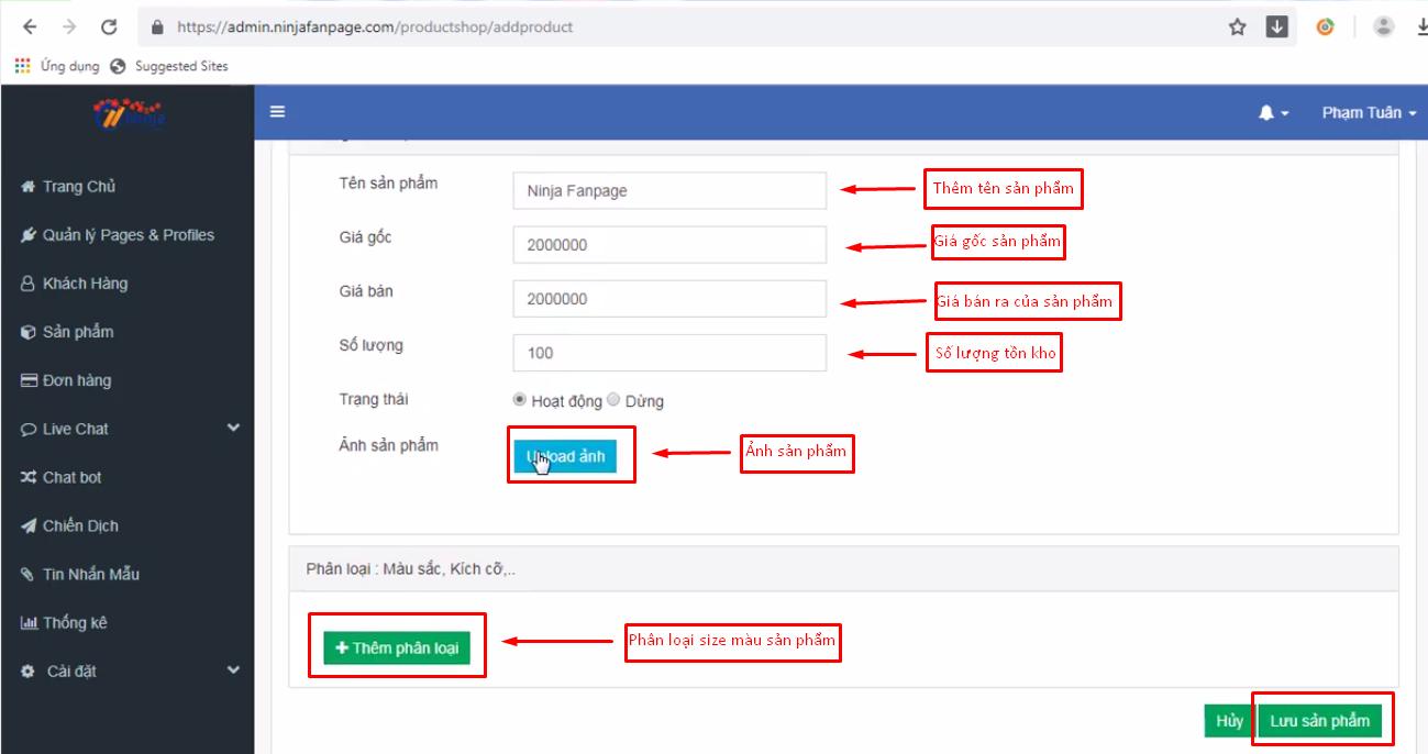 them san pham ninja fanpage1 Hướng dẫn tạo và quản lý sản phẩm bằng phần mềm gửi tin nhắn fanpage Ninja Fanpage