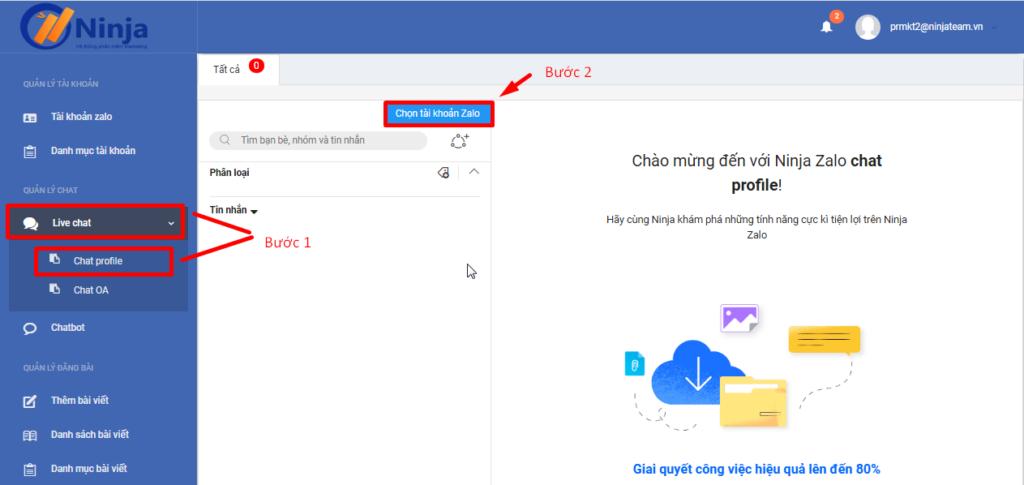 chat profile 1024x485 Ninja Zalo   Phần mềm quản lý bán hàng Zalo siêu tiện ích