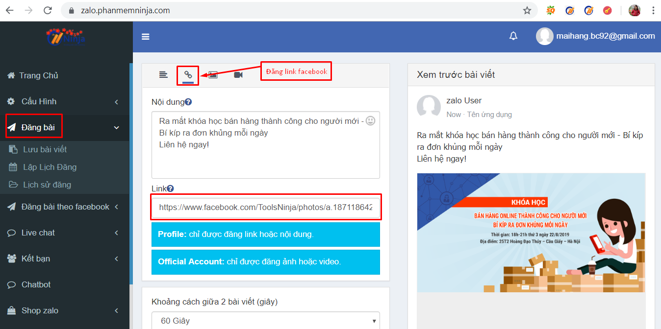 dang bai tu dong1 Hướng dẫn đăng bài lên zalo tự động bằng phần mềm auto zalo Ninja Zalo