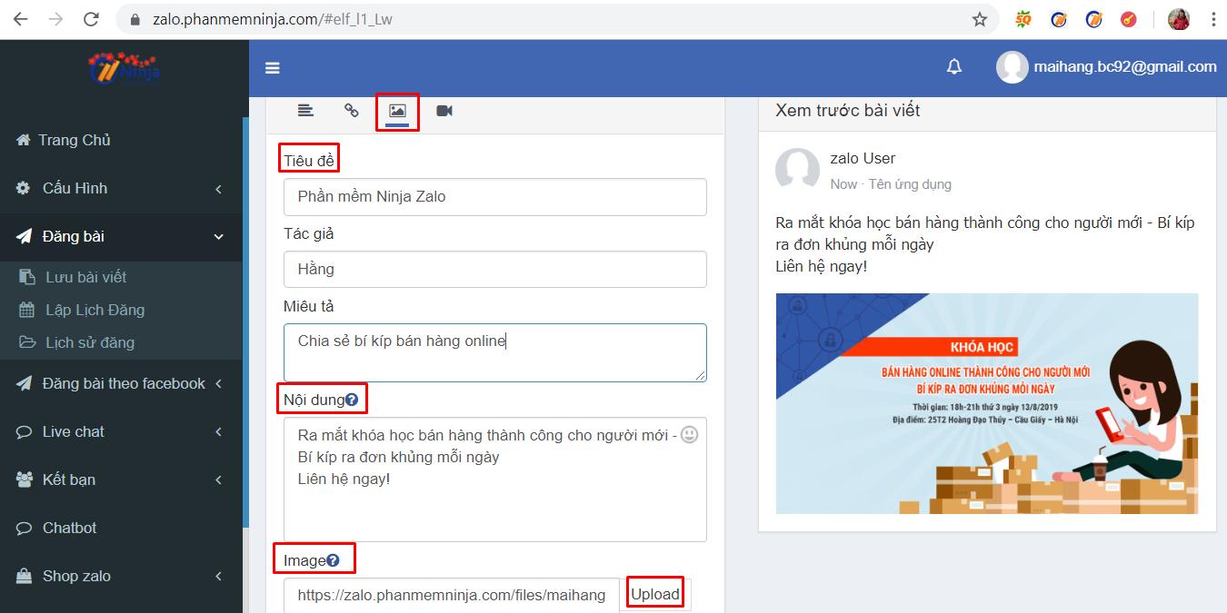 dang bai tu dong3 Hướng dẫn đăng bài lên zalo tự động bằng phần mềm auto zalo Ninja Zalo